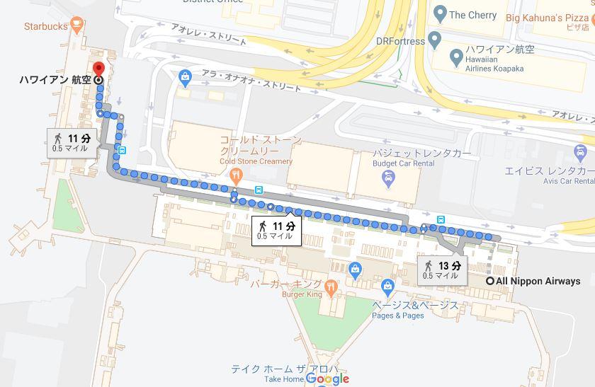 ダニエル・K・イノウエ国際空港の地図、ハワイアン航空からANAカウンターまでの距離